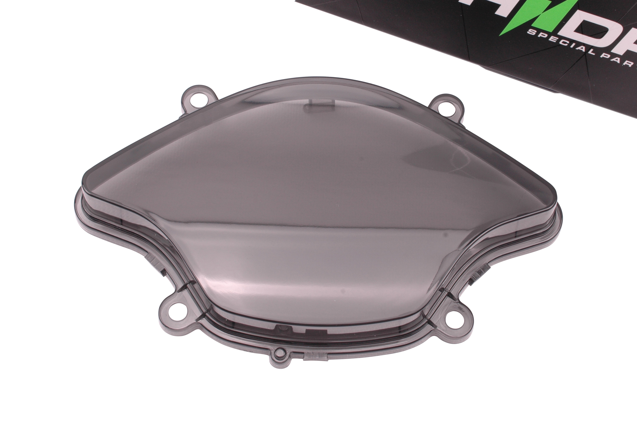 Cockpitglas zwart / smoke / getint met extra nokjes (zie foto 2) | Vespa Primavera ('17-) / Sprint ('17-)