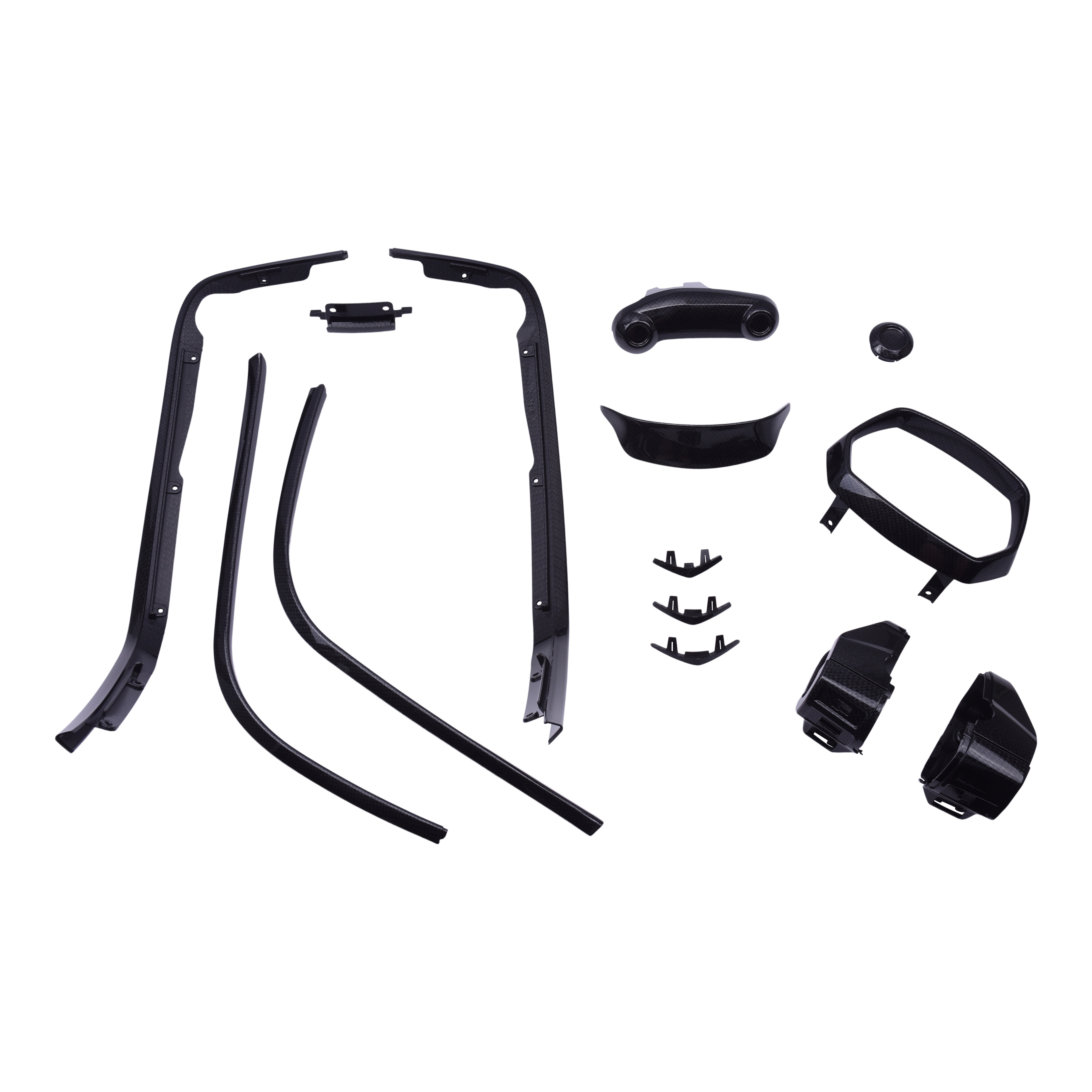 Complete stylingkit met alle kuststof onderdelen om te customizen van zwart / chroom naar glans carbon watertransfer | Vespa Sprint (-'18)