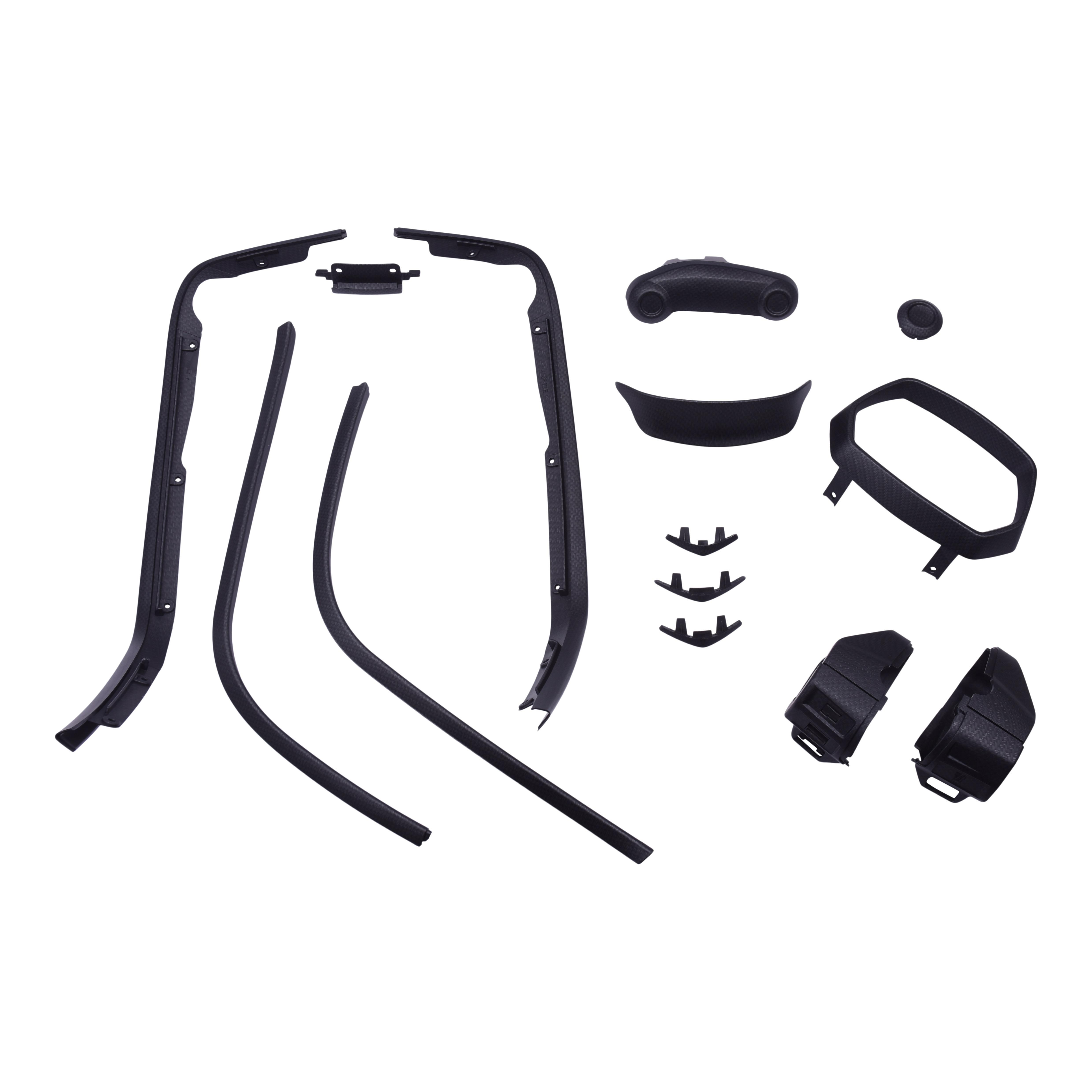 Complete stylingkit met alle kuststof onderdelen om te customizen van zwart / chroom naar mat carbon watertransfer | Vespa Sprint (-'18)
