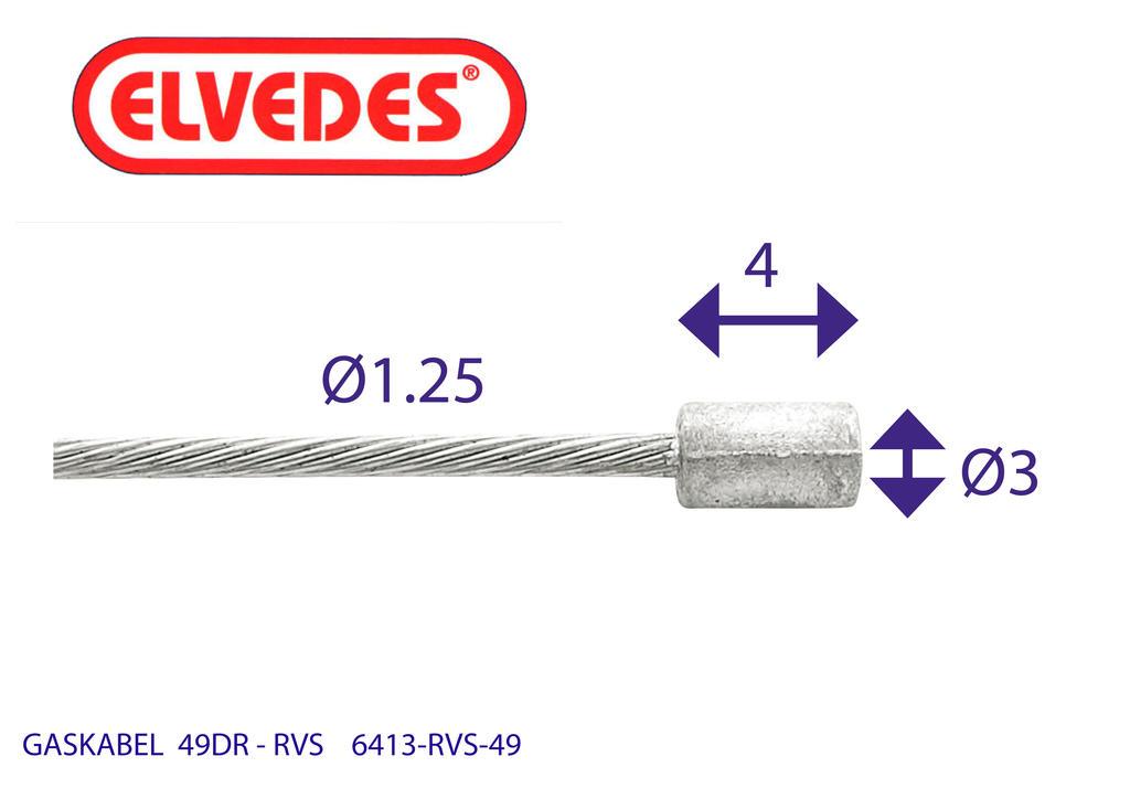 Gaskabel Binnen Elvedes Ton RVS 49-draads (6413RVS-49)